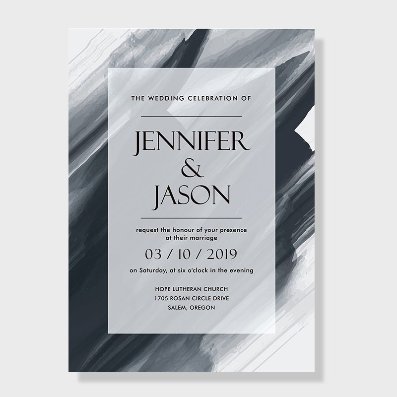 Watercolor Black and White Classic Wedding Invitations PWIF026