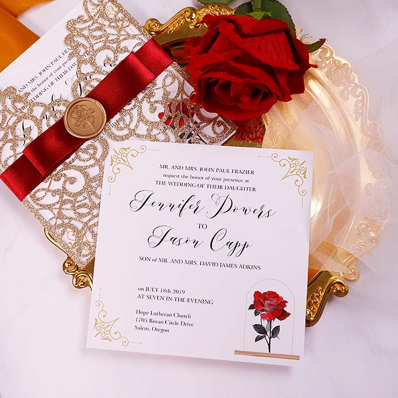 Fairytale Rose Gold Glitter Beauty And The Beast Laser Cut Wedding Invitations PWIL071