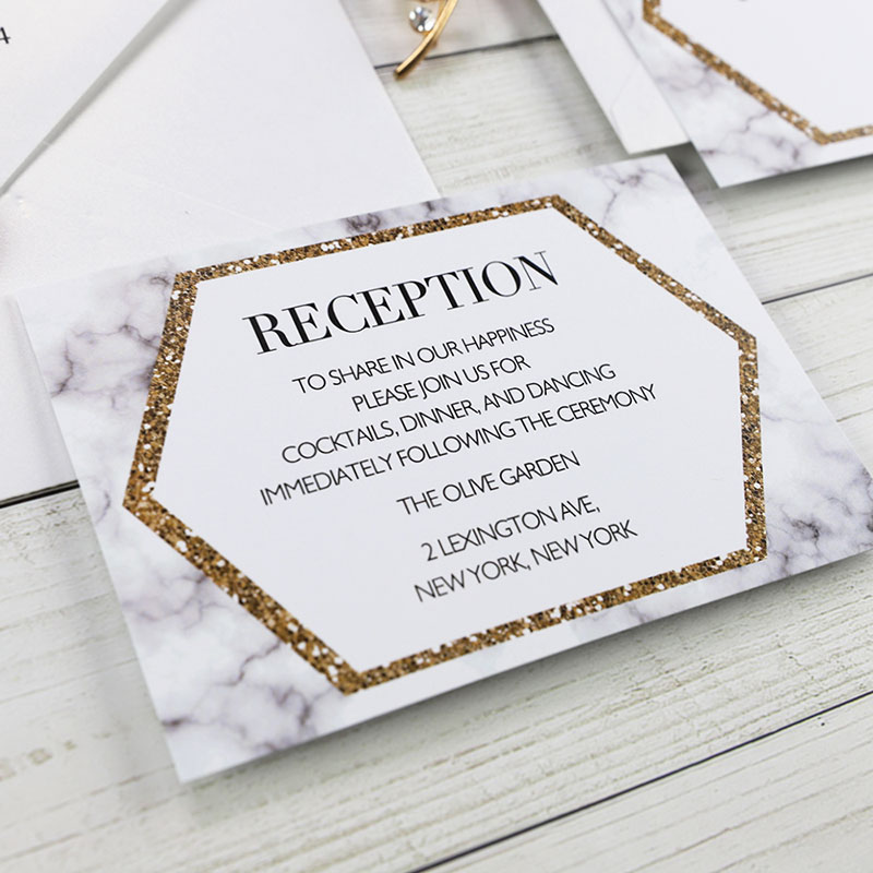 Modern Champgne Gold Laser Cut Pocket Wedding Invitation Suite PWIL073