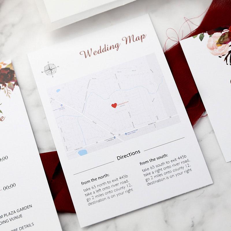Burgundy Floral Boho Wedding Invitation Suite PWIM001