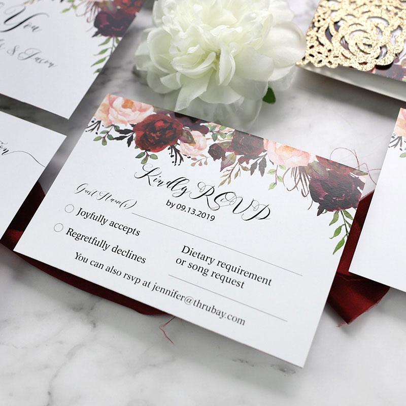 Rustic Marsala and Blush Floral Rose Gold Wedding Invitation Set PWIM002