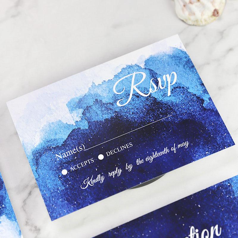 Blue Ocean Watercolor Splendor Wedding Invitation Set PWIM004