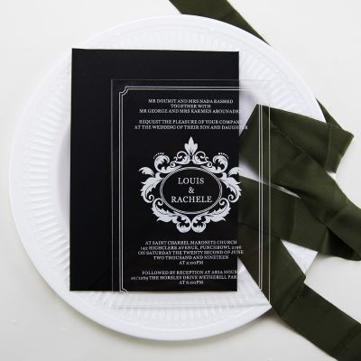 Modern Script Acrylic Wedding Invitations PWIA007