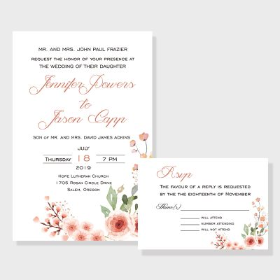 Simple Romance Floral Wedding Invitations PWIF030