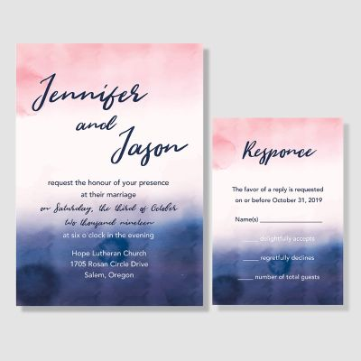 Paint Overlay Wedding Invitations PWIF031