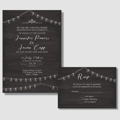 String Lights Nights Wedding Invitations PWIF033