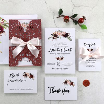 Rustic Marsala Floral Laser Cut Ribbon Wedding Invitation PWIL074