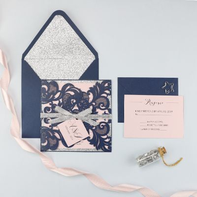 Dusty Rose and Navy Laser Cut Wedding Invitation With Silver Glitter Accent PWIL079