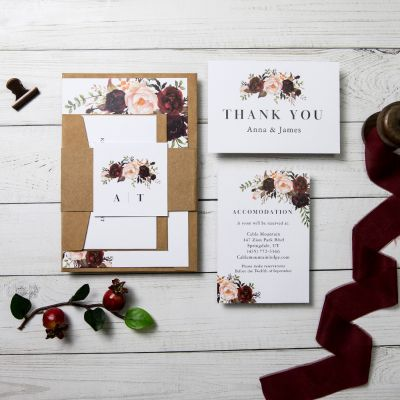 Kraft Burgundy Floral Wedding Invitation Bohemian Rustic Fall Wedding PWIF034