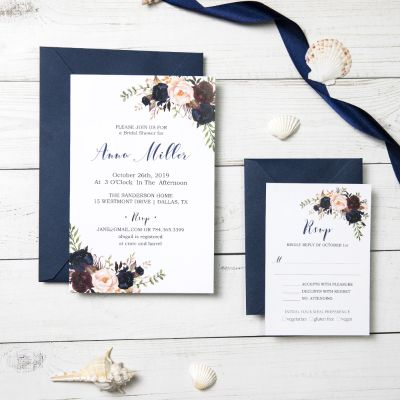 Marsala and Navy Watercolor Floral Wedding Invitation PWIF035