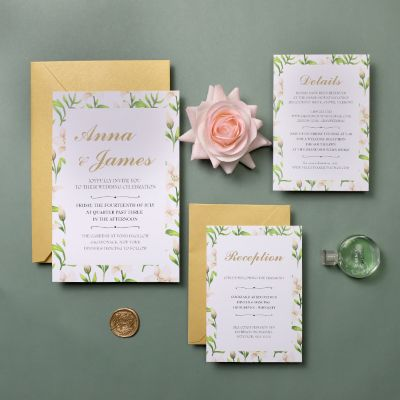 Border of Floral Blush Wedding Invitations PWIF036