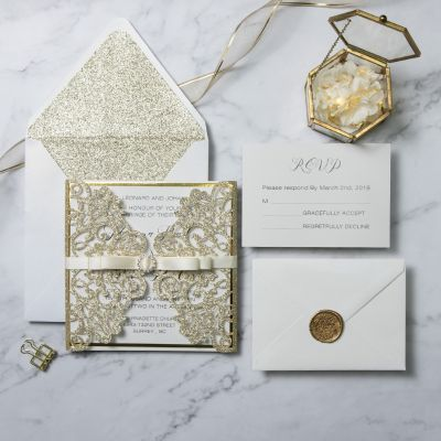Elegant Luxe Champagne Gold Glitter Laser Cut Wedding Invitation PWIL083