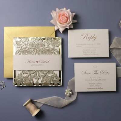 Champagne Gold and Blush Laser Cut Wedding Invitation PWIL086