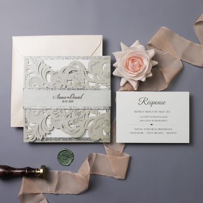 Chic Silver Blush Laser Cut Wedding Invitation PWIL093