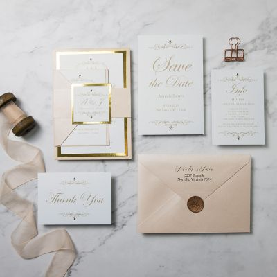 Elegant Gold and Blush Chic Layered Invitation Bundle PWIM005