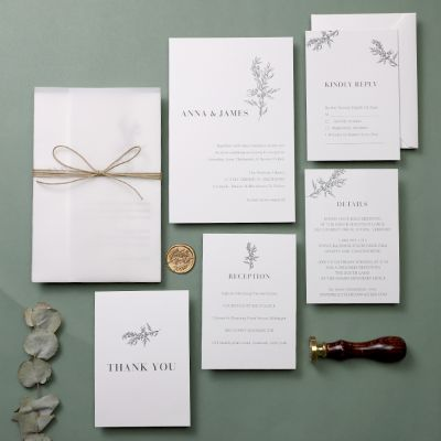 Minimalism Simple Leaf Wedding Invitations PWIM008