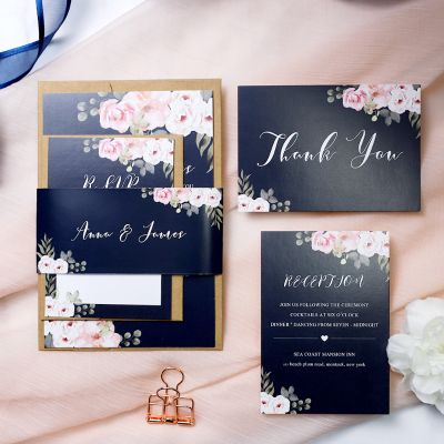 Navy and Pink Floral Rustic Wedding Invitation Suite PWIM009