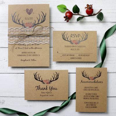 Rustic Country Burgundy Antler Wedding Invitation Suite PWIM010