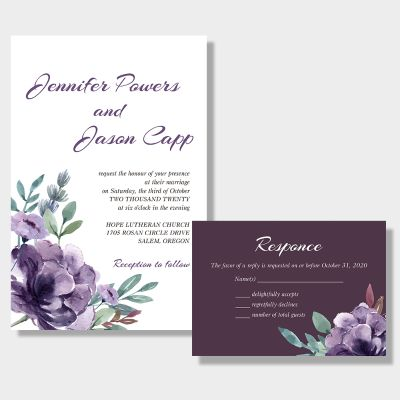 Delicate Mauve Medley Wedding Invitations PWIF038
