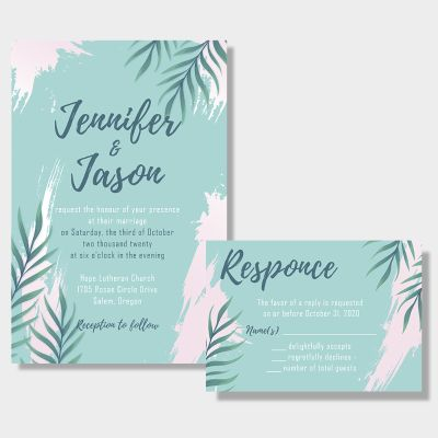 Beach Tropical Leaf Wedding Invitations PWIF039