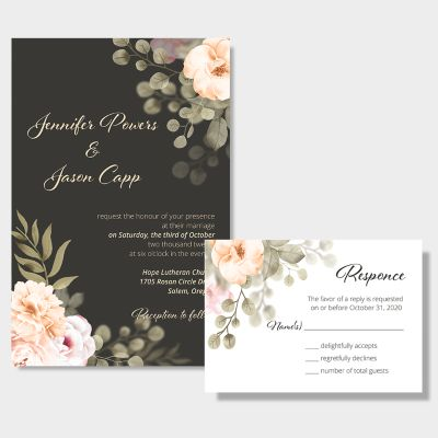 Vivid Moody Florals Wedding Invitations PWIF040