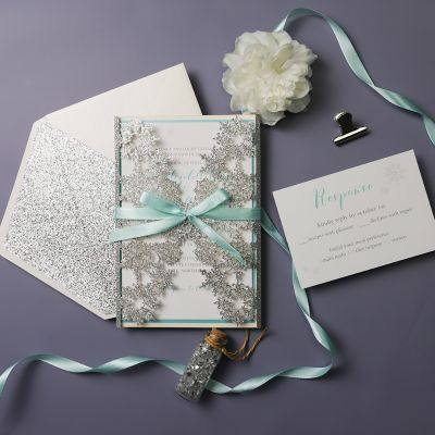 Tiffany Blue Swirl Laser Cut Wedding Invitation Kits Turquoise And Silver Glitter Invitation Suite Pwil062 Pro Wedding Invites