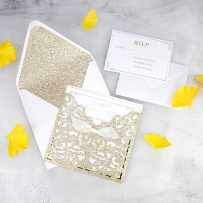 Royal Champagne Gold Glittery Laser Cut Wedding Invitation with Classic Insert on Gold Mirror Paper PWIL091