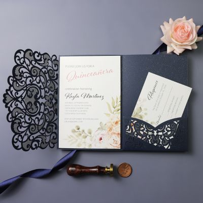 Peachy Rose and Navy Laser Cut Quinceañera Party Invitations PWIQ003