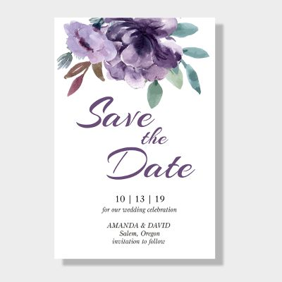 Delicate Mauve Medley Save The Date Wedding Cards PWIS004