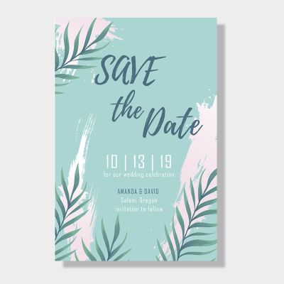 Beach Tropical Leaf Save The Date Wedding Cards PWIS005