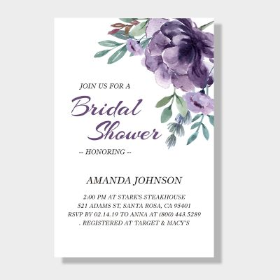 Delicate Mauve Medley Bridal Shower Invitation Cards PWIB003