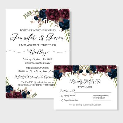 Mulberry with Navy Floral Wedding Invitations PWIF041