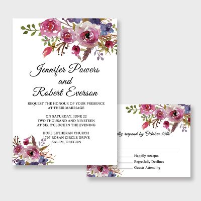 Spring Magenta Shades Of Purple Wedding Invitations PWIF065