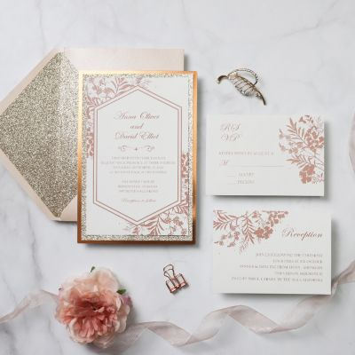 Rose Gold Glitter Roses Wedding Invitation with Blush Envelopes PWIM013