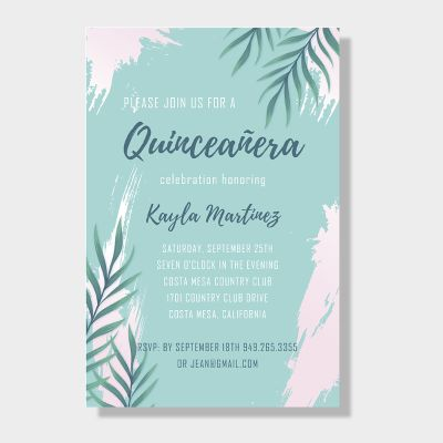 Beach Tropical Leaf Quinceañera Party Invitations PWIQ004