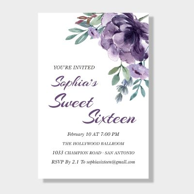 Delicate Mauve Medley Sweet Sixteen Party Invitation PWIT004