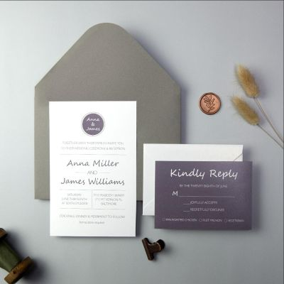 Classic Plum And Dark Gray Wedding Invitations PWIF045