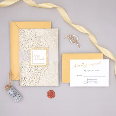 Modern Simple Calligraphy Champagne Gold Laser Cut Wedding Invitations PWIL097