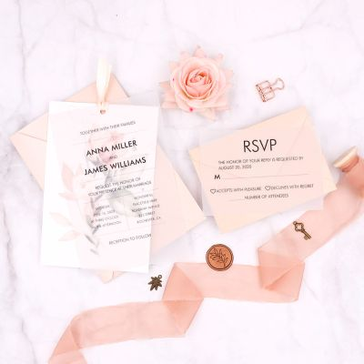 Ivory Floral Layered Vellum Wedding Invitations With Ribbons PWIL103