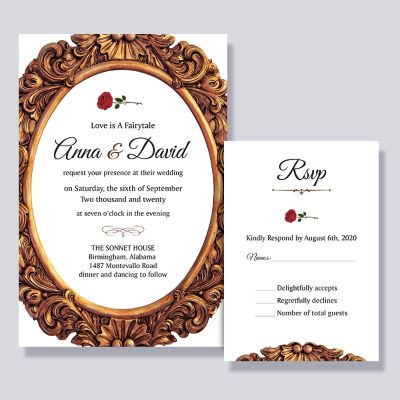 Single Red Rose Inspired Beauty and The Beast Fairytale Wedding Invitation PWIF048