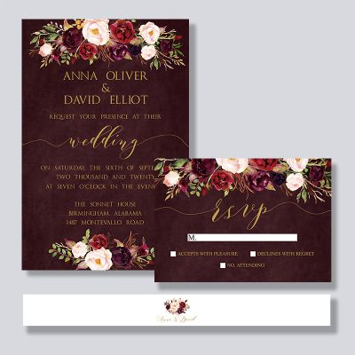 Watercolor Burgundy Red Floral Rustic Boho Wedding Invitation PWIF049