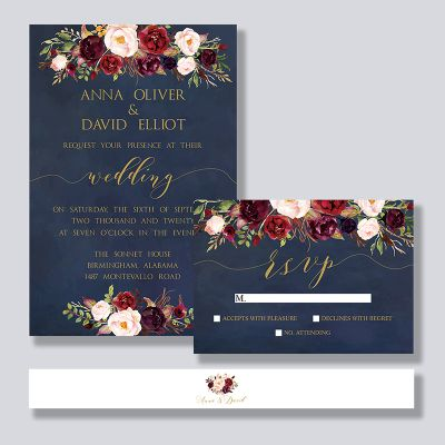 Burgundy Blush Navy Blue Floral Botanical Wedding Invitation PWIF050
