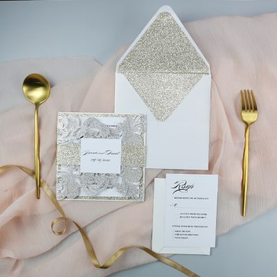 Elegant Champagne Gold And Silver Glitter Laser Cut Invitation PWIL113