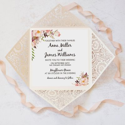 Rustic Pink Flower Laser Cut Ivory Lace Wedding Invites PWIL119