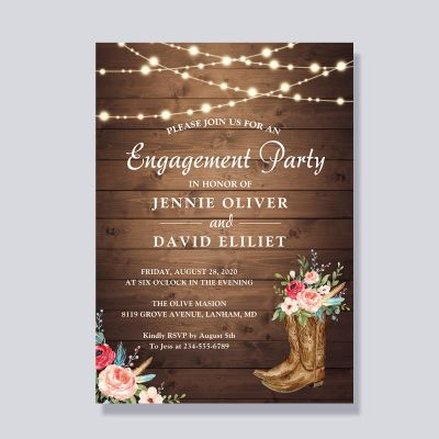 Rustic Boots Floral String Lights Engagement Party Invitation PWIE001