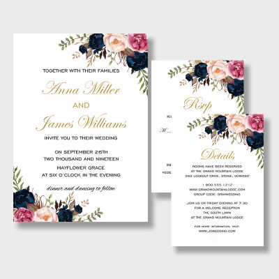Colorful Blush, Hot Pink and Navy Rustic Wedding Invites PWIF051