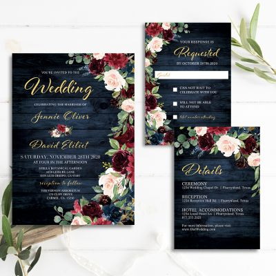 Rustic Navy, Burgundy, Blush Floral Wooden Wedding Invitation PWIF052