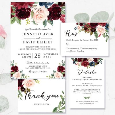 Elegant Watercolor Flowers Modern Wedding Invitation PWIF053