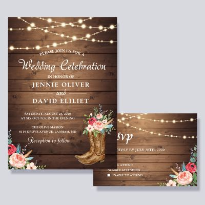 Rustic Boots Cowboy Cowgirl Floral Lights Wedding Invitation PWIF055