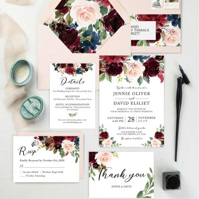 Burgundy, Blush, and Navy Marsala Blooms Floral Wedding Invitation Suite PWIM016